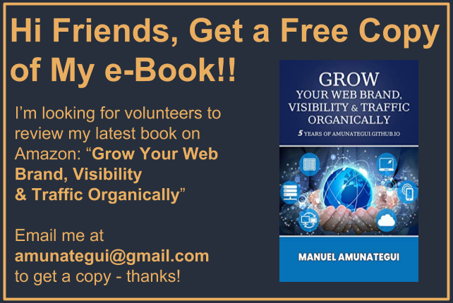 Get my new book Grow Your Web Brand, Visibility & Traffic Organically on Amazon!